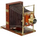 Mahogany Field Camera by Fauvel in Paris,c.1880
