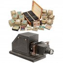 Large Lot 8,5x8,5cm Slides and Projector, c. 1925