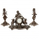 French Mantel Clock with Peep Show Scene, c. 1880