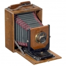 Polished Wood Folding Camera by Möller, Wedel, c. 1890