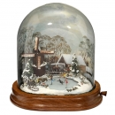 Contemporary Winter Scene Automaton under Glass Dome