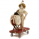 Automaton Pull-Toy with Clown Musician, c. 1890