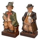 Pair of Carved Wood Whistling Automata by Karl Griesbaum, c. 197