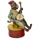 Günthermann Tin Toy Figure Monkey Strums Banjo, c. 1910