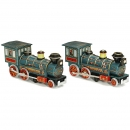 2 Battery-Operated Western Locomotives by Modern Toys, c. 1965