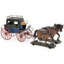 Toy Coach with 2 Carthorses, c. 1900