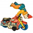 Acrobatic Clown on Motorbike by Mettoy, c. 1950