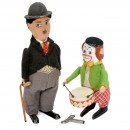 Charlie Chaplin and Drummer Clown by Schuco