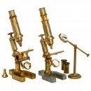 2 French Brass Compound Microscopes, c. 1880