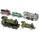 3 Tin Toy Locomotives and 2 Wagons, 1925 onwards