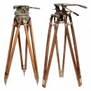 2 Professional 35 mm Movie Camera Tripods, c. 1930