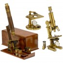 3 English Brass Compound Microscopes by Beck