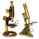 2 English Brass Compound Microscopes