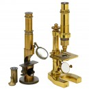 2 French Brass Compound Microscopes