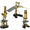 3 Brass Compound Microscopes