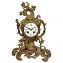 French Rococo-Style Boudoir Clock by Mougin, Ende of 19th Centur