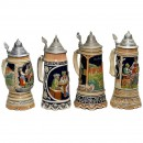 4 Musical Beer Steins, 20th Century