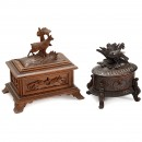 2 Carved Musical Boxes, c. 1900