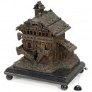 Musical Bronze-Patinated Chalet, mid 20th Century