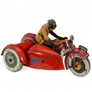 Extra-Large Toy Motorcycle with Sidecar by JML, c. 1938
