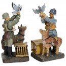 Elastolin Figures: German and French Soldier with Pidgeon-Camera