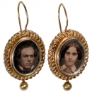 Earrings with Daguerreotypes, c. 1850