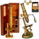2 Brass Microscopes, c. 1860