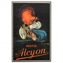 Extraordinary French Moto Alcyon Motorbike Poster, c. 1905