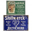 2 Stollwerck Enamel Advertising Signs, c. 1910