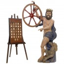 Neptune Figure with Wheel of Fortune, c. 1910