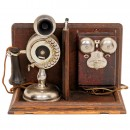 Strowger Automatic Dial Candlestick Telephone with Ringer Box, c