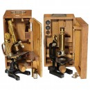 2 Jug Handle Microscopes by Ernst Leitz and Emil Busch