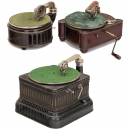 3 Gramophones with Tin Cases, c. 1930